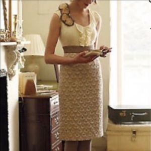 Anthro Floreat Ivory Eyelet Metallic Dress 0